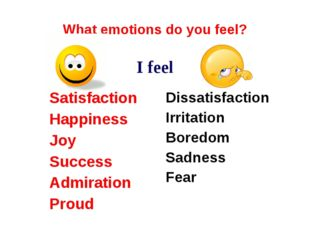 What emotions do you feel? I feel Satisfaction Happiness Joy Success Admirati
