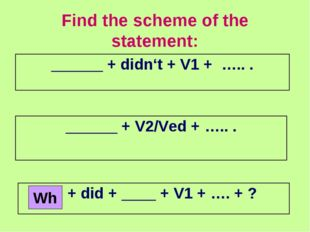Find the scheme of the statement: Wh ______ + didn't + V1 + ….. . ______ + V2