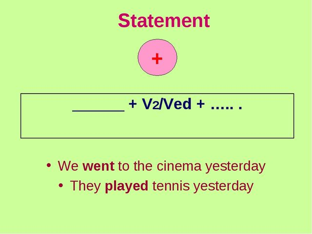 Statement We went to the cinema yesterday They played tennis yesterday +