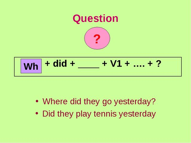 Question Where did they go yesterday? Did they play tennis yesterday Wh ? + d...