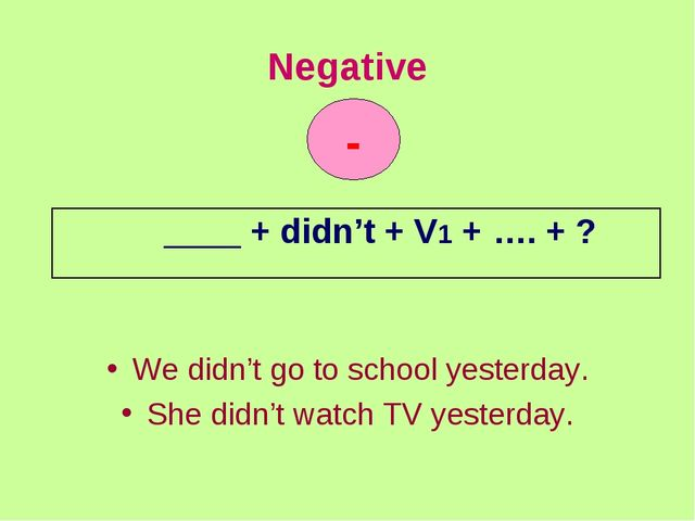 Negative We didn't go to school yesterday. She didn't watch TV yesterday. - _...