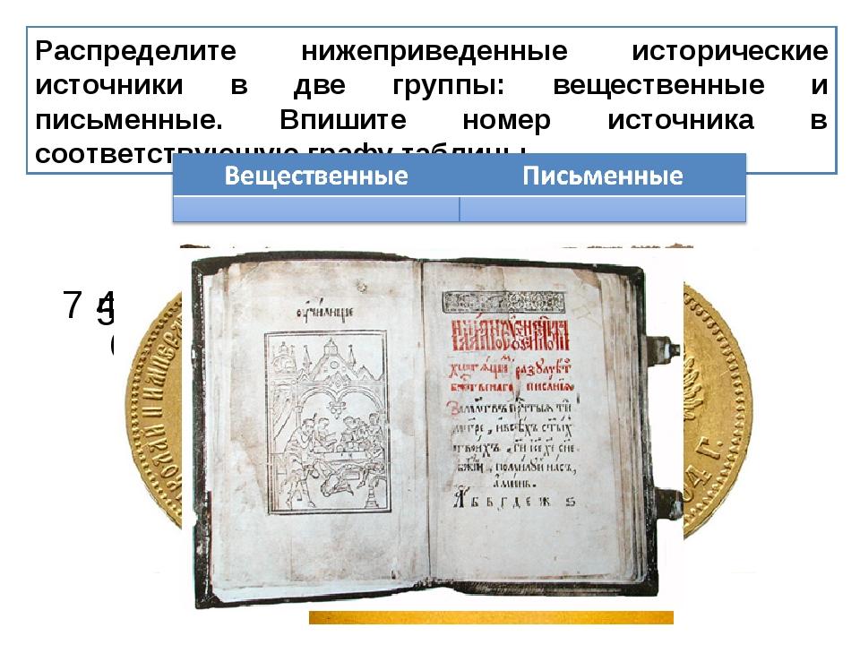 Распределите нижеприведенные исторические источники в две группы: вещественны...