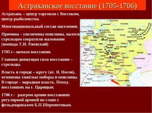 Астраханское восстание (1705-1706) Астрахань – центр торговли с Востоком, цен