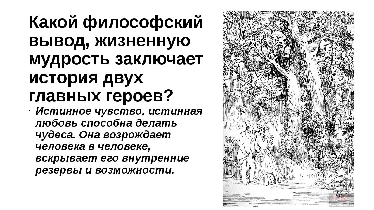 Какой философский вывод, жизненную мудрость заключает история двух главных ге...