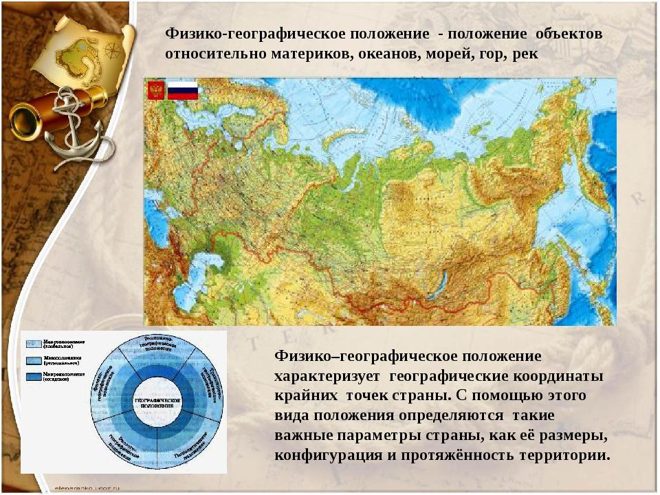 Физико-географическое положение - положение объектов относительно материков,...