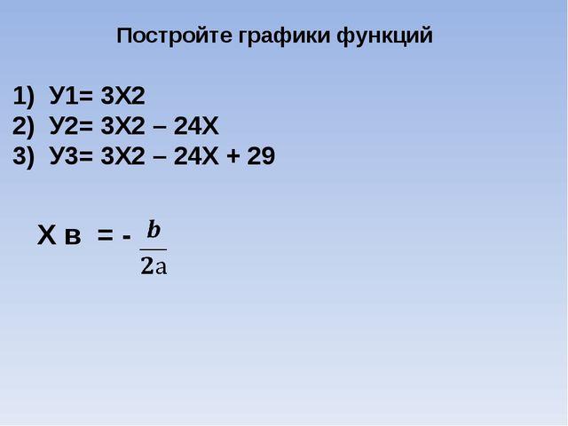 Постройте графики функций 1) У1= 3Х2 2) У2= 3Х2 – 24Х 3) У3= 3Х2 – 24Х + 29 Х...