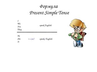 Формула Present Simple Tense I We You They He She It + s (es) speaks English