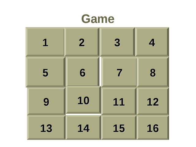 Game 1 2 3 4 5 6 7 8 9 10 11 12 13 14 15 16
