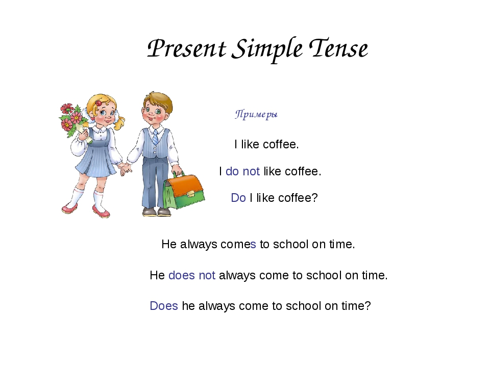 Present Simple Tense Примеры He always comes to school on time. He does not a...