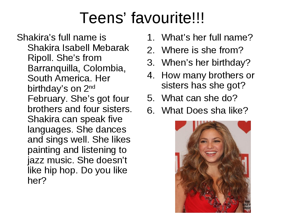 Teens' favourite!!! Shakira's full name is Shakira Isabell Mebarak Ripoll. Sh...