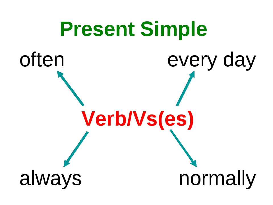 Present Simple often every day Verb/Vs(es) always normally