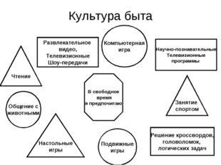 Культура быта Чтение Научно-познавательные Телевизионные программы Настольные