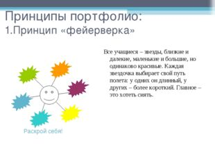 Принципы портфолио: 1.Принцип «фейерверка» Раскрой себя! Все учащиеся – звезд