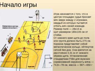 Игра начинается с того, что в центре площадки судья бросает мяч вверх между 2