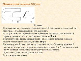 Металлический стержень АВ будет Решение: На проводник со стороны магнитного п