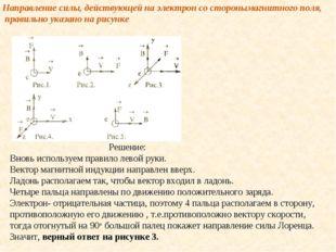 Направление силы, действующей на электрон со сторонымагнитного поля, правильн