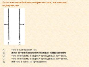 Если силы взаимодействия направлены так, как показано на рисунке, то A)тока