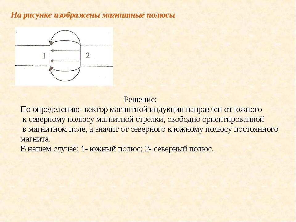 На рисунке изображены магнитные полюсы Решение: По определению- вектор магнит...