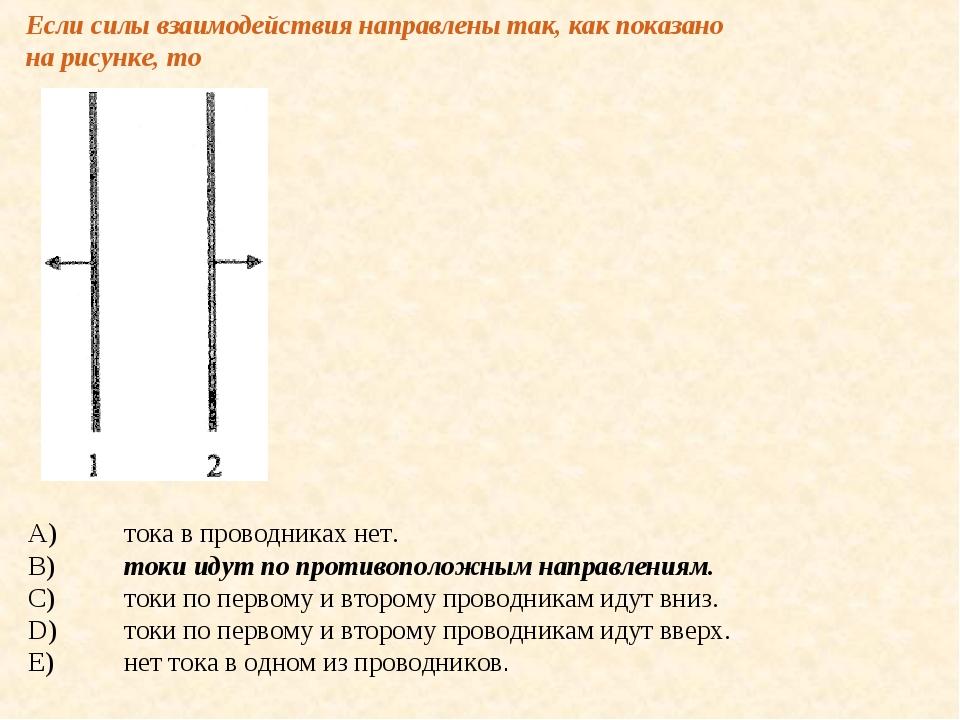 Если силы взаимодействия направлены так, как показано на рисунке, то A)тока...