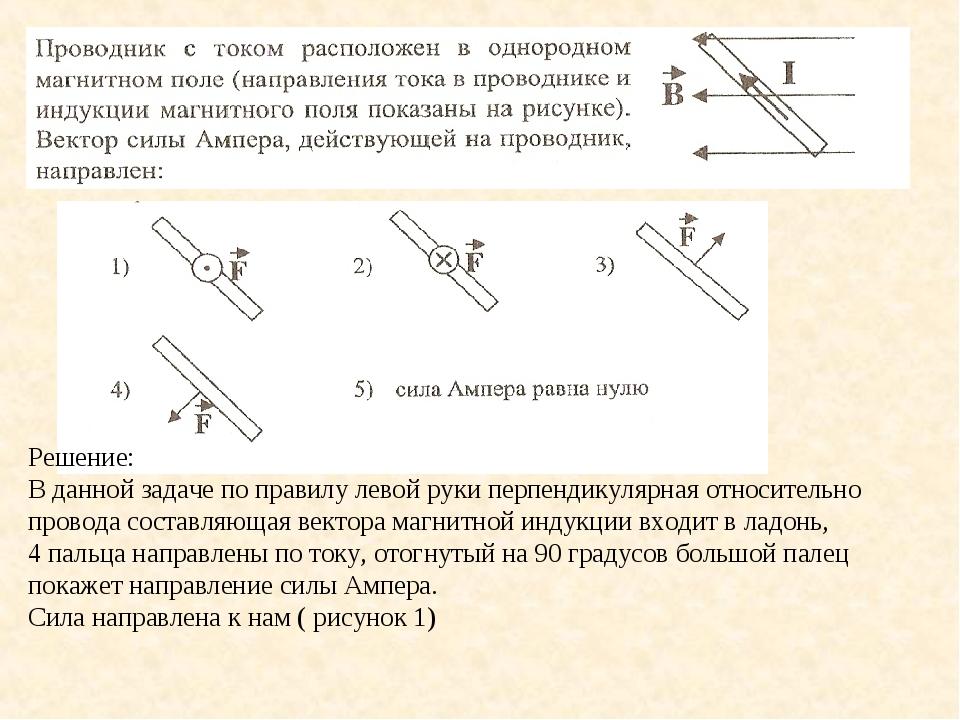 Решение: В данной задаче по правилу левой руки перпендикулярная относительно...