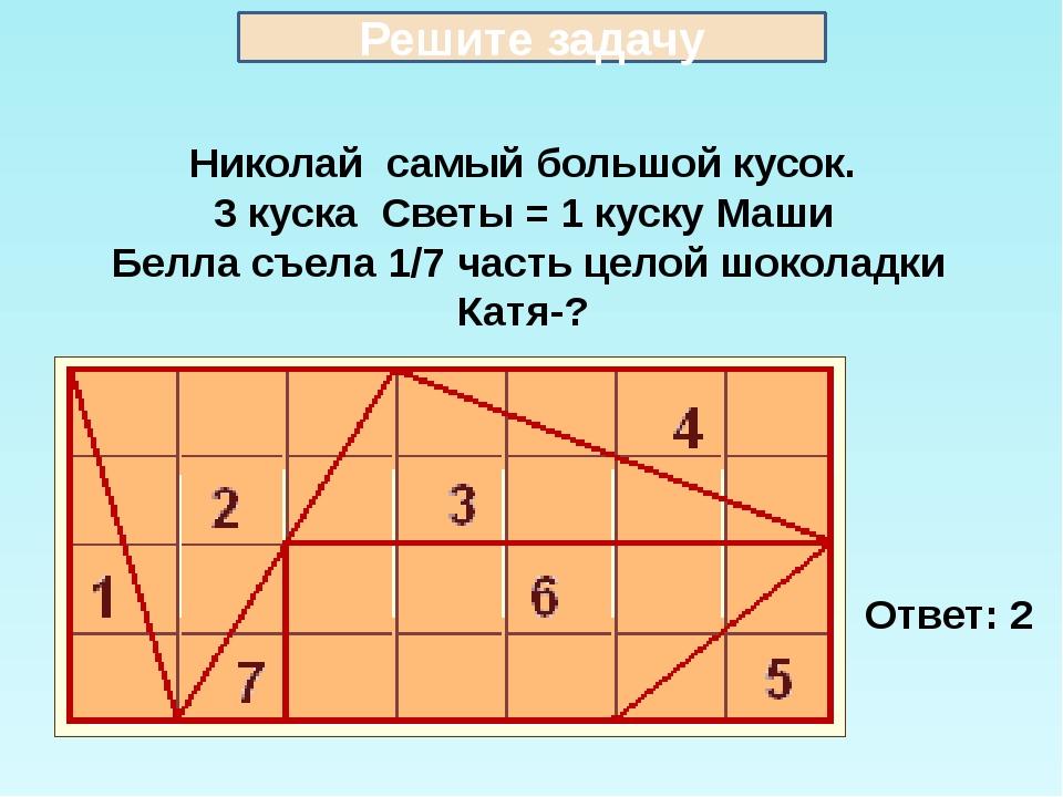 Николай самый большой кусок. 3 куска Светы = 1 куску Маши Белла съела 1/7 час...