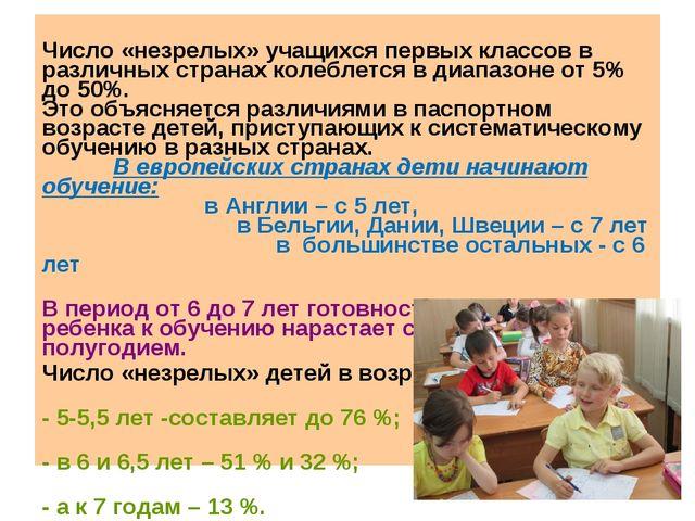 Число «незрелых» учащихся первых классов в различных странах колеблется в ди...