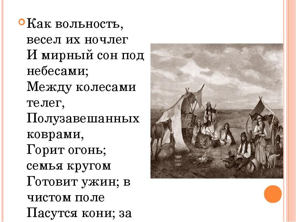 Как вольность, весел их ночлег И мирный сон под небесами; Между колесами теле...