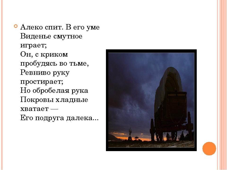 Алеко спит. В его уме Виденье смутное играет; Он, с криком пробудясь во тьме,...