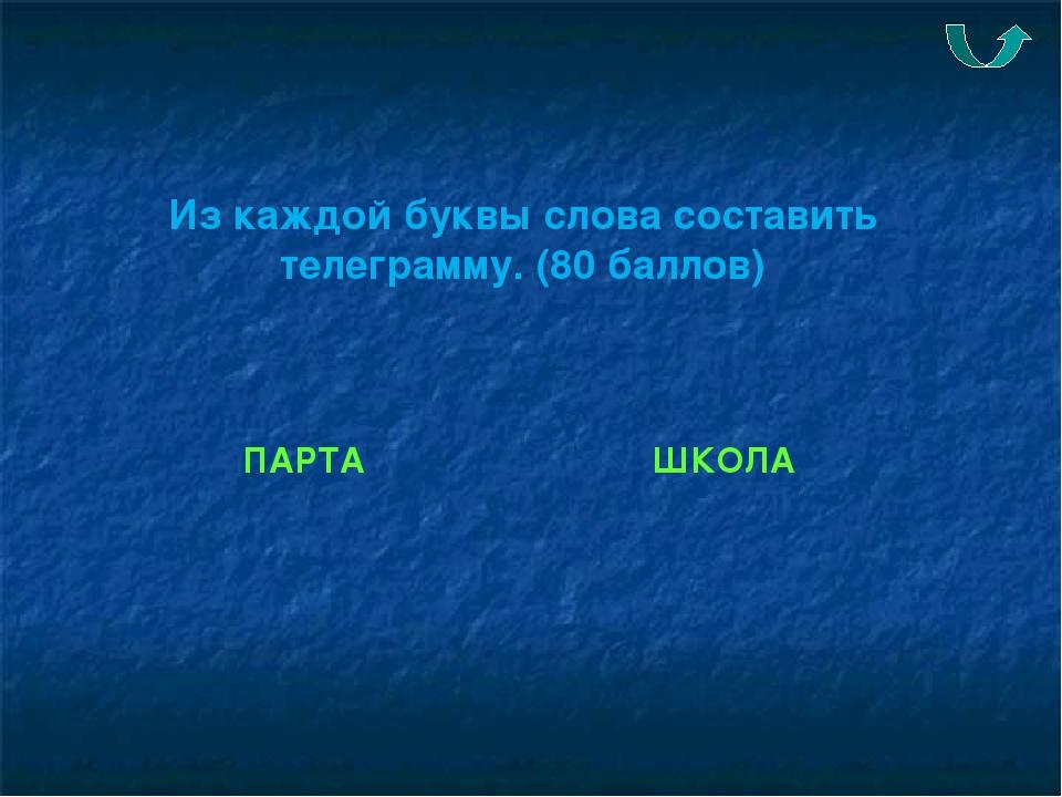Из каждой буквы слова составить телеграмму. (80 баллов) ПАРТА ШКОЛА