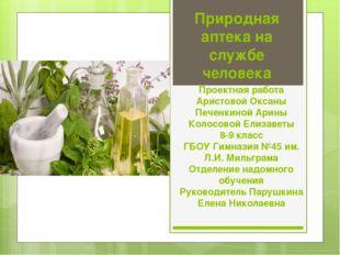 Природная аптека на службе человека Проектная работа Аристовой Оксаны Печенки