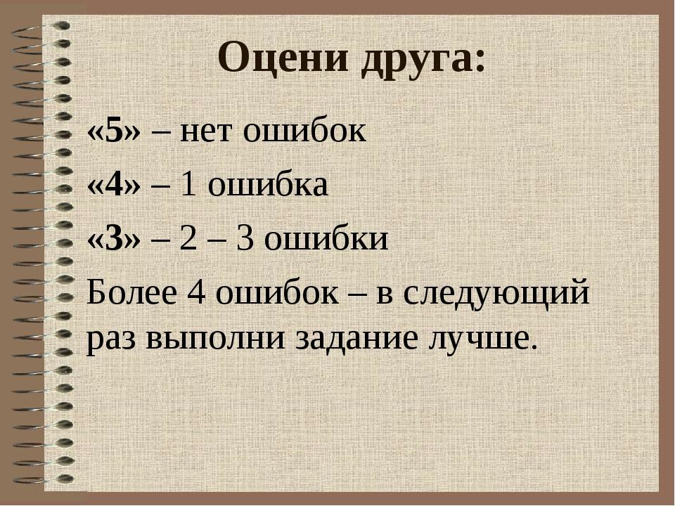 Оцени друга: «5» – нет ошибок «4» – 1 ошибка «3» – 2 – 3 ошибки Более 4 ошибо...