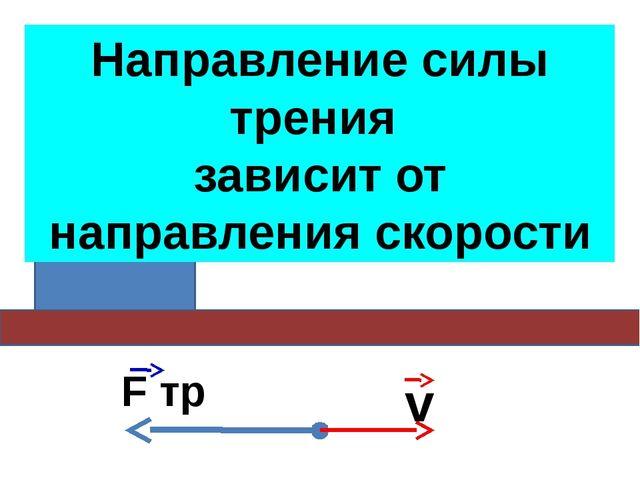 Сила трения скольжения зависит от относительной скорости тел v F тр Направлен...