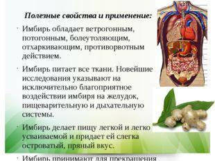 Полезные свойства и применение: Имбирь обладает ветрогонным, потогонным, боле