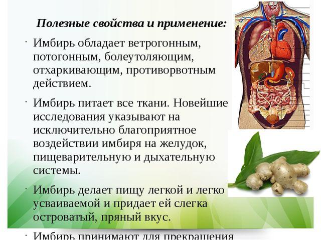 Полезные свойства и применение: Имбирь обладает ветрогонным, потогонным, боле...