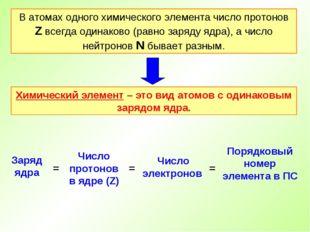 В атомах одного химического элемента число протонов Z всегда одинаково (равно