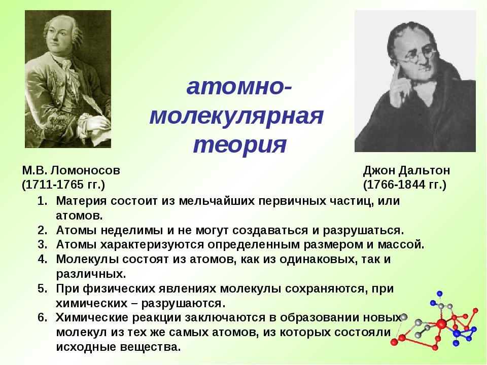 М.В. Ломоносов (1711-1765 гг.) Материя состоит из мельчайших первичных частиц...