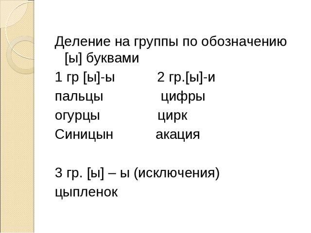Деление на группы по обозначению [ы] буквами 1 гр [ы]-ы 2 гр.[ы]-и пальцы ц...