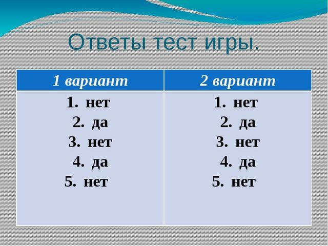 Ответы тест игры. 1 вариант 2 вариант нет да нет да нет нет да нет да нет