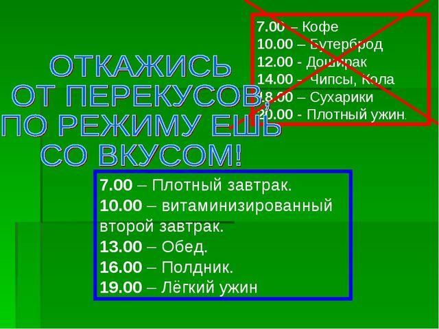 7.00 – Кофе 10.00 – Бутерброд 12.00 - Доширак 14.00 – Чипсы, Кола 18.00 – Сух...
