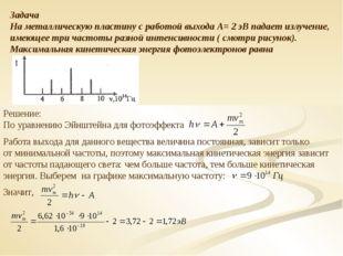 Задача На металлическую пластину с работой выхода А= 2 эВ падает излучение, и