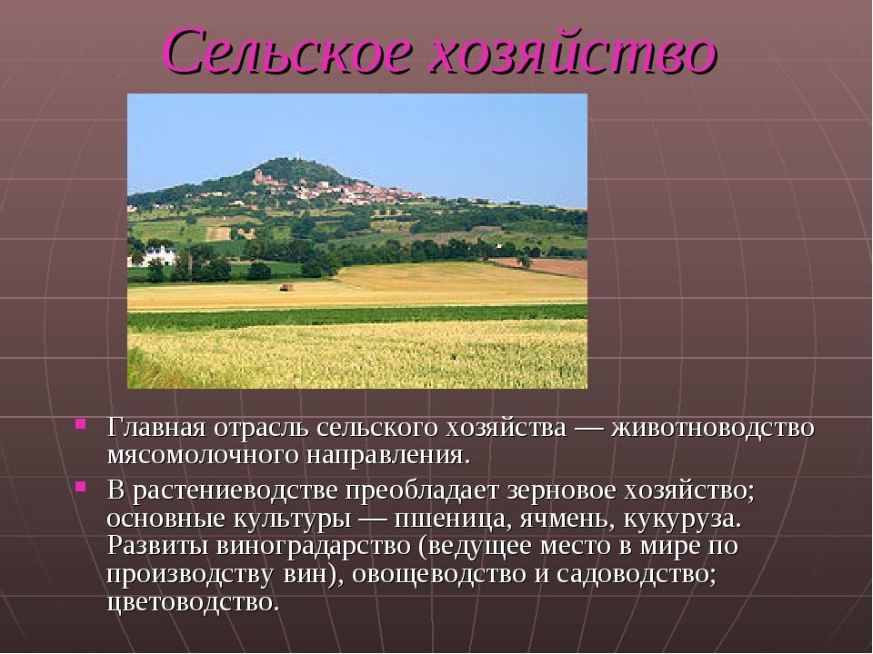 Сельское хозяйство Главная отрасль сельского хозяйства — животноводство мясом...