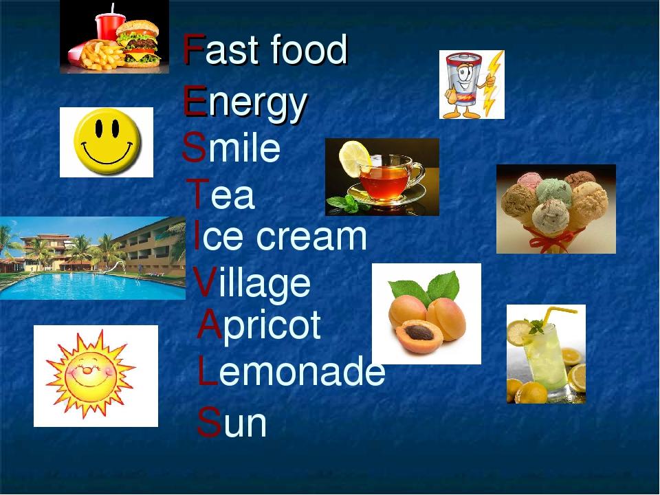 Fast food Energy Smile Tea Ice cream Village Apricot Lemonade Sun