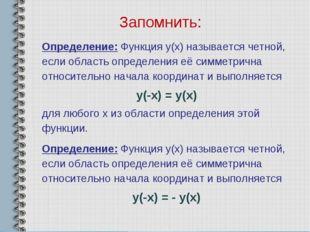 Запомнить: Определение: Функция y(x) называется четной, если область определе