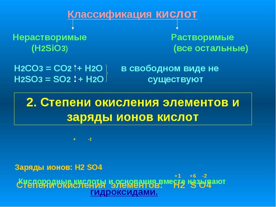 Классификация кислот Растворимые (все остальные) Нерастворимые (H2SiO3) H2CO3...