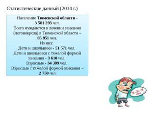 НаселениеТюменской области- 3 581 293чел. Всегонуждаются в лечении заик