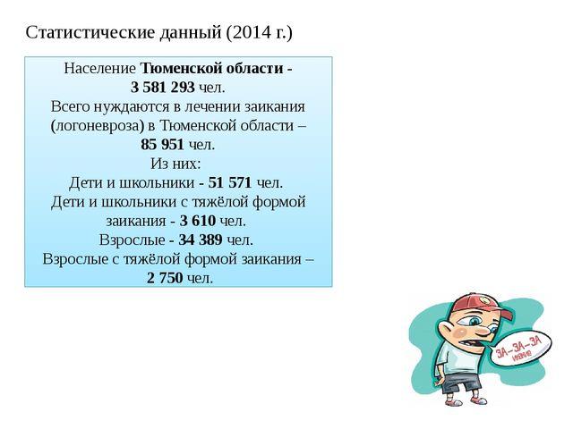 НаселениеТюменской области- 3 581 293чел. Всегонуждаются в лечении заик...