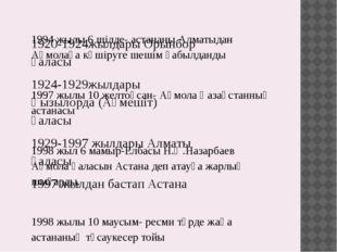 1920-1924жылдары Орынбор қаласы 1924-1929жылдары Қызылорда (Ақмешіт) қаласы 1