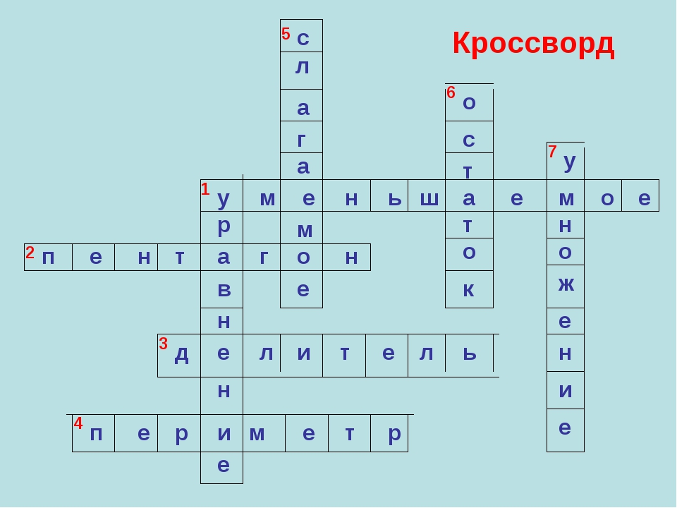 1 2 3 4 5 6 7 Кроссворд у м е н ь ш а е м о е п е н т а г о н д е л и т е л ь...
