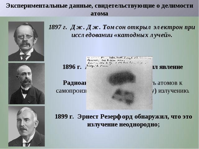 Экспериментальные данные, свидетельствующие о делимости атома 1897 г. Дж. Дж....