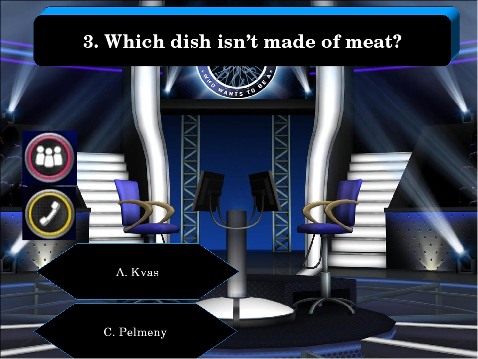 A. Kvas C. Pelmeny 3. Which dish isn't made of meat?